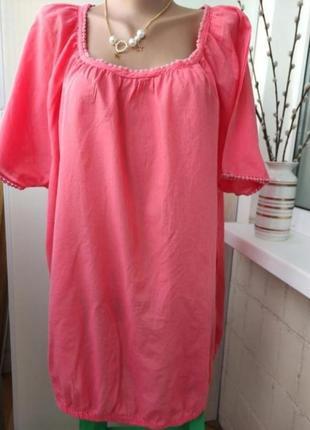 Туника блузка батал, хлопок 💯, большой размер
