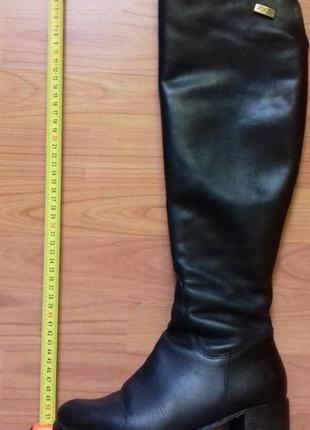 Зимние кожаные    чёрные сапоги