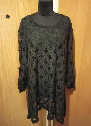 Шикарная,асимметричная,гипюровая блузка,рукав 2в1,большого размера,батал,италия