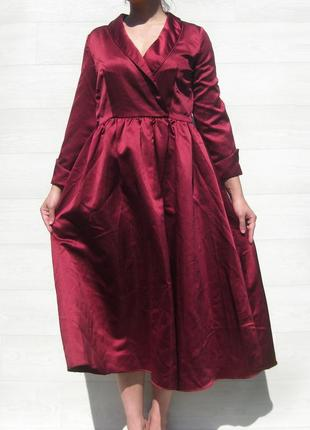 Платье известного брэнда dressv бордовое марсала красное атласное вамп