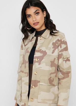 Куртка - рубашка в камуфляжный принт topshop