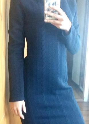 Теплое платье красивого синего цвета