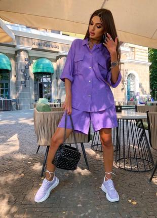 Женский костюм лён лиловый
