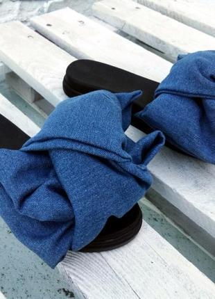 Шлепки с бантом из джинсы шлепанцы сандалии тапки сланцы шльопанці сині капці