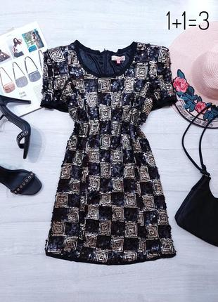 Miso вечернее блестящее платье s-m мини в обтяжку черное нарядное короткое пайетки тренд