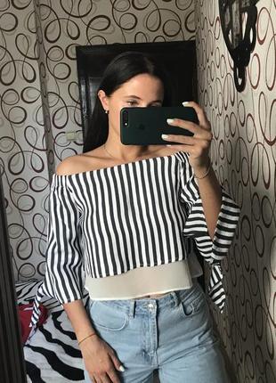 Актуальная укороченная блуза блузка топ топик в полоску