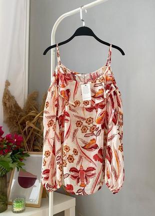 Натуральная блузка с вырезами на плечах next