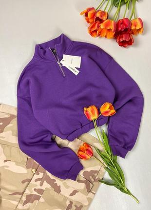 Фиолетовый укороченный свитшот   bershka