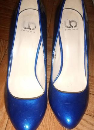 Туфельки лаковые синие 38р