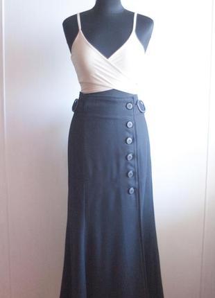 Черная юбка макси на пуговицах, осень, ретро