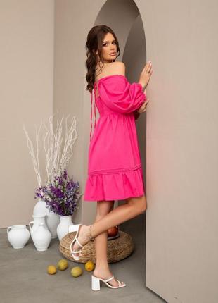 💗new💗 малиновое свободное платье с рукавами-фонариками