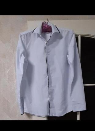 Рубашка белая с длинным рукавом школа на 10-11-12лет
