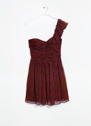 Платье шифоновое на одно плечо ,бюстье mango xs