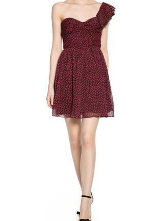 Платье шифоновое на одно плечо ,бюстье mango xs2 фото