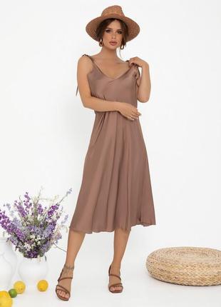 💗new💗 коричневое шелковое платье на бретелях