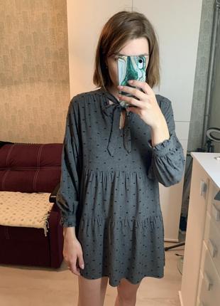 Платье zara серое с чёрным xs