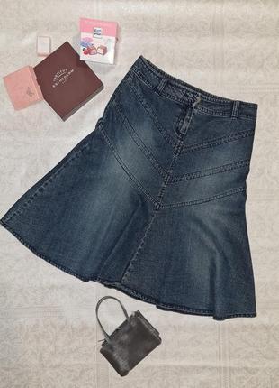 Юбка джинсовая стретч миди