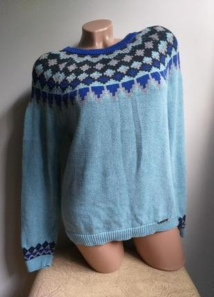 Свитер. пуловер. свитер с орнаментом в ромб. голубой, синий.