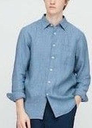 Льняная рубашка uniglo унисекс