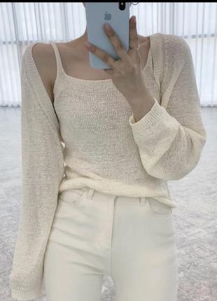 Костюм льняной белый льняной костюм льняная маечка