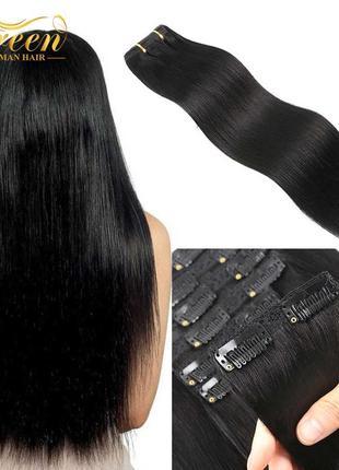 Натуральные волосы на заколках клипсах.