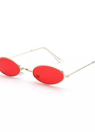 Очки стильные имиджевые с красными стёклами солнцезащитные