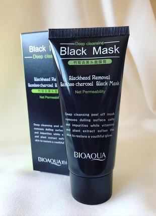 ⚫️чорна маска плівка з бамбуковим вугіллям bioaqua black mask для видалення чорних точок