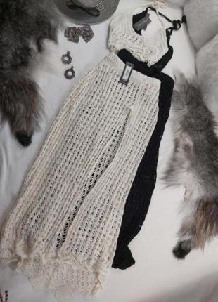 Вязанный винтажный костюм топ юбка пляжный вечерний концертный