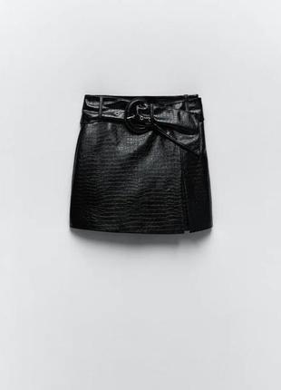 Юбка-шорты из искусственной кожи zara