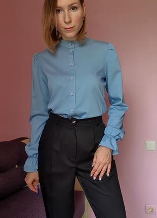 Рубашка,  блуза, объёмные рукава со сборнкой, буфы