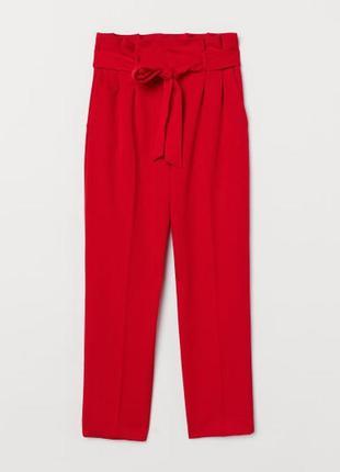 Красные брюки на высокой посадке h&m