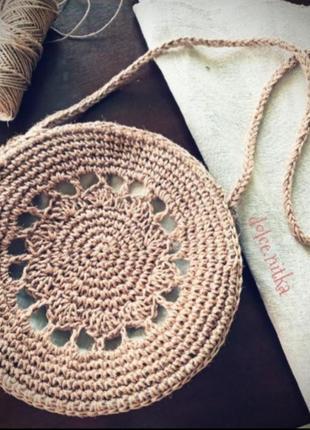 Круглая плетеная вязаная из джута сумка кроссбоди