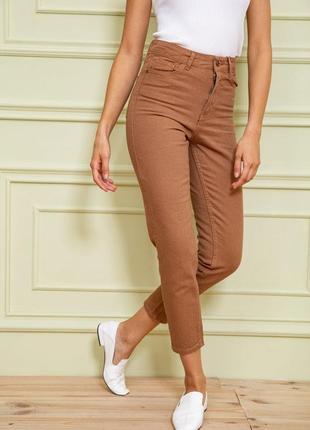 Базовые укороченные женские джинсы с завышенной талией однотонные женские джинсы бойфренды коричневые женские джинсы мом
