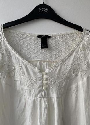 Блузка вышиванка бохо стиль hm белая ретро винтаж