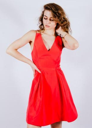 Нарядное платье коралловое, летнее платье короткое, сукня, плаття