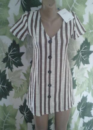 Платье-рубашка удлиненная в полоску брендовое zara morocco хлопок хлопковое на пуговицах.