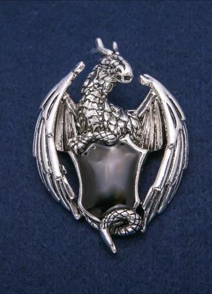 Брошь геральдический, серебрянный дракон