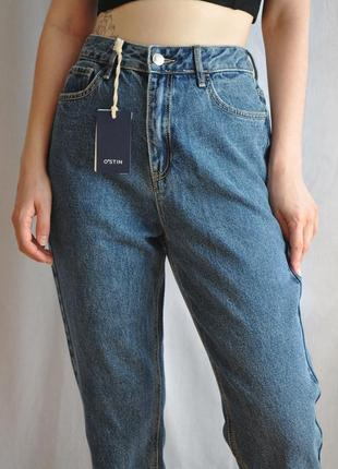 Новые джинсы mom на высокой талии o'stin из плотной ткани хлопок синие голубые