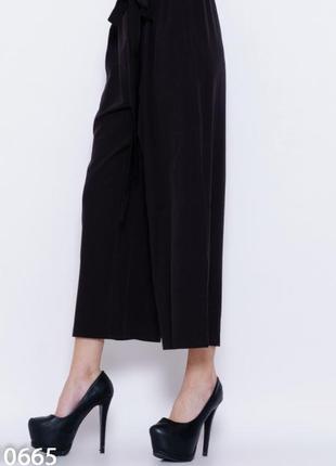 Вільні штани кюлоти чорного кольору2 фото