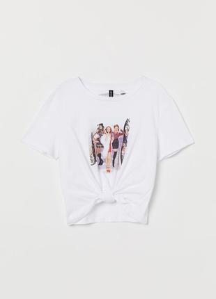 Белая легкая летняя футболка с принтом h&m, хлопок 100%