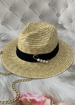 Женская соломенная летняя шляпа федора с цепочкой white pearls (золото)