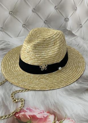 Женская соломенная летняя шляпа федора с цепочкой pin flower