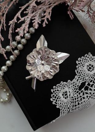 Брошь цветок ссср советская алюминий винтаж 1950 -1960 годы объемная крупная серебро