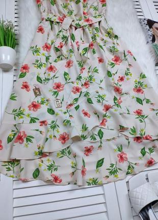 Платье-миди на плечи бежевое в цветочный принт f&f под поясок3 фото