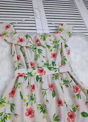 Платье-миди на плечи бежевое в цветочный принт f&f под поясок5 фото