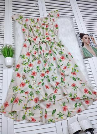 Платье-миди на плечи бежевое в цветочный принт f&f под поясок1 фото