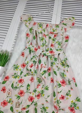 Платье-миди на плечи бежевое в цветочный принт f&f под поясок2 фото