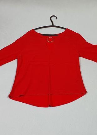 Яркая летняя красная блузка фирмы orsay, размер м (46-й)