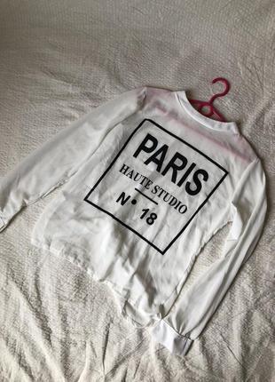 Лёгкая белая блуза с принтом и открытой спиной