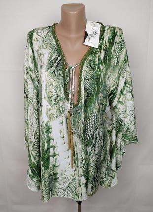 Блуза кимоно новая стильная в тропический принт m